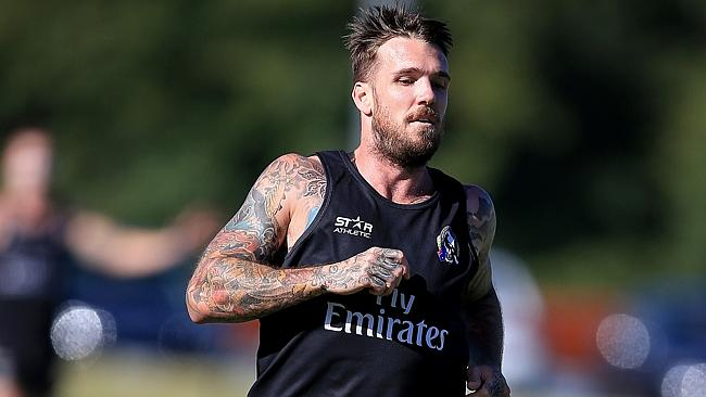 Dane Swan runs laps at Collingwood training. Picture: Wayne Ludbey