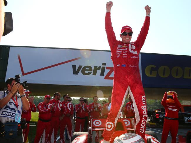 Dixon celebrates his first win of the season.