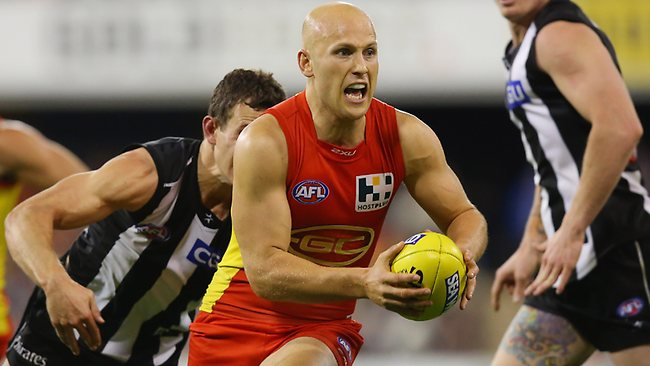 Gary Ablett bursts clear against Collingwood.