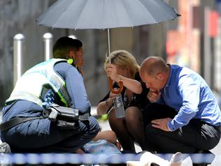 Pedestrians mowed down in Bourke St, Melbourne. Picture, Tony Gough
