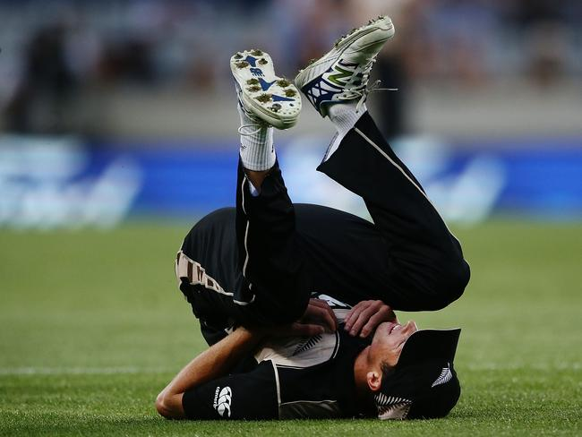 New Zealand's Mitchell Santner drops a catch.