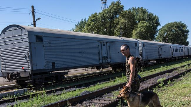 No dignity ... a pro-Russian rebel guards a train containing the bodies of victims of the MH17 disaster.
