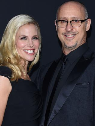 Brooke Burns and director husband Gavin OConnor at the premiere of his film The Accountant. Picture: Splash