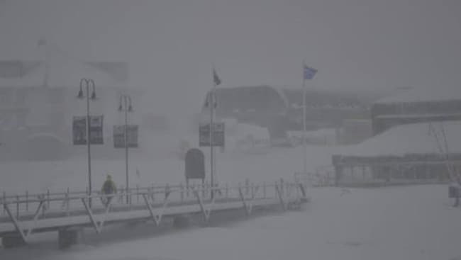 Bit of a bleak old walk across the bridge in Perisher on Tuesday morning.