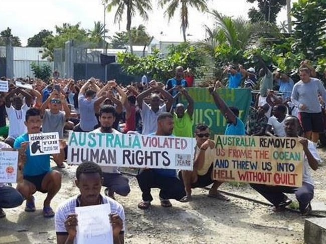 Asylum seekers are demanding to be able to stay at the detention centre. Picture: Supplied