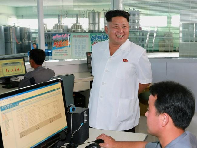 North Korean leader Kim Jong-un pictured inspecting the Chonji Lubricant Factory this month.