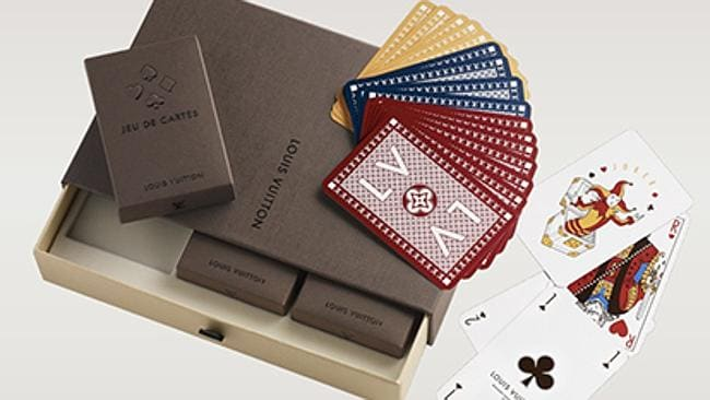 The playing cards come in three different colours, all with the Louis Vuitton logo. Picture: Louis Vuitton.