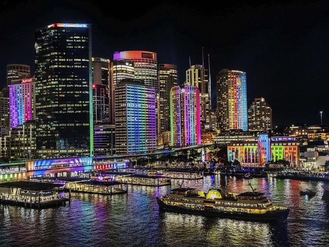 Dreamscape lights up the buildings around Circular Quay with colour and texture.
