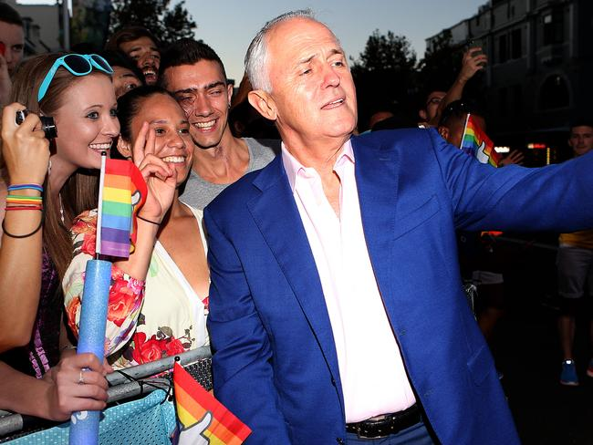 Prime Minister Malcolm Turnbull at Mardi Gras in Sydney last night. Picture: News Corp Australia