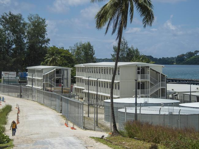 A view of part of the massive asylum seeker detention cemtre at Lombrum, Manus Island. Picture: Brian Cassey