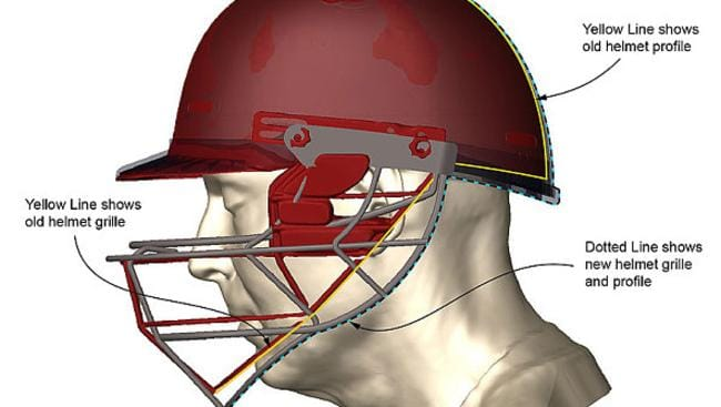 A graphic of a Masuri helmet similar to the one Phillip Hughes wore shows the differences between the old and new helmets.