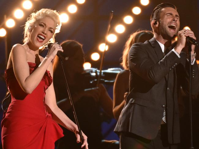 Giving it some heart ... Gwen Stefani and Adam Levine. Picture: John Shearer/Invision/AP