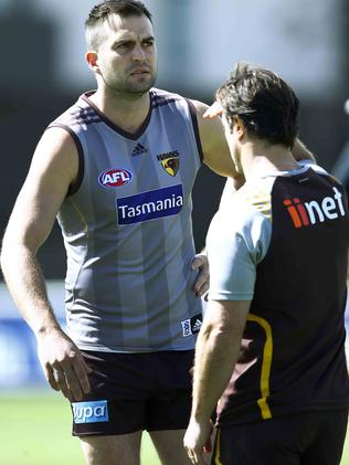 Luke Beveridge (right) has been helping out the likes of Brian Lake. Picture: Michael Klein