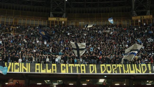 Napoli's fans held up a banner in tribute to Borussia Dortmund in their Serie A game with Udinese.