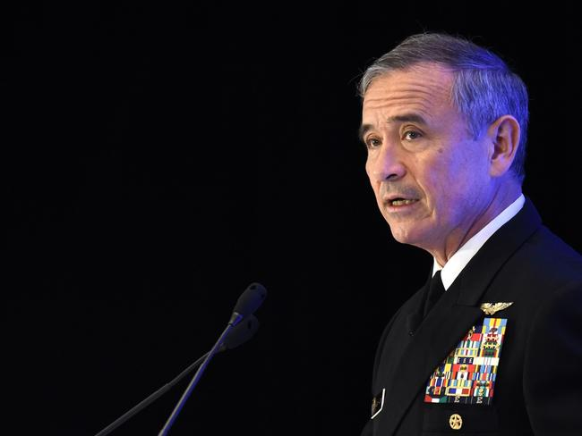 "Admiral Harry B Harris, Jr, Commander, United States Pacific Command has warned that China's military might is growing at such a pace that it could soon rival American power ""across almost every domain"". Picture: AFP"