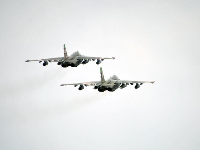 Russian Su-25 Frogfood ground attack aircraft like those involved in yesterday's incident. Picture: AP