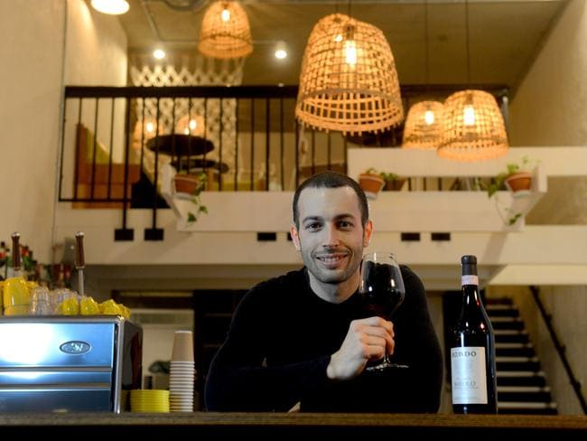 La Moka owner Manuel Francesconi at his coffee/ wine bar in Peel St. Picture: Sam Wundke