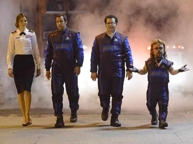 Michelle Monaghan, Adam Sandler, Josh Gad and Peter Dinklage in a scene from Pixels. Picture: Splash News