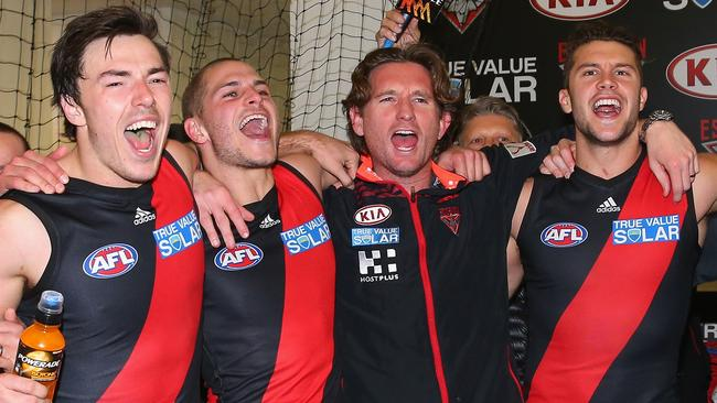Essendon has had several emotional renditions of the club song in the last two years.