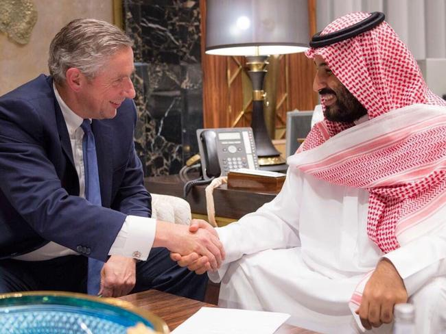 Former Alcoa boss Klaus Kleinfeld, pictured here with the crown prince, has been named chief executive of NEOM.