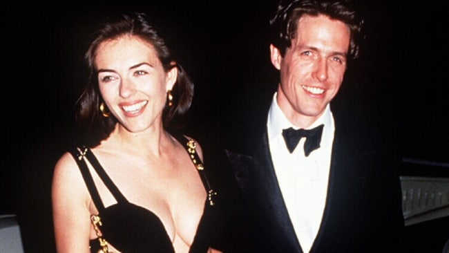 Liz Hurley and Hugh Grant at the premiere of 'Four Weddings and a Funeral'. Photo: File