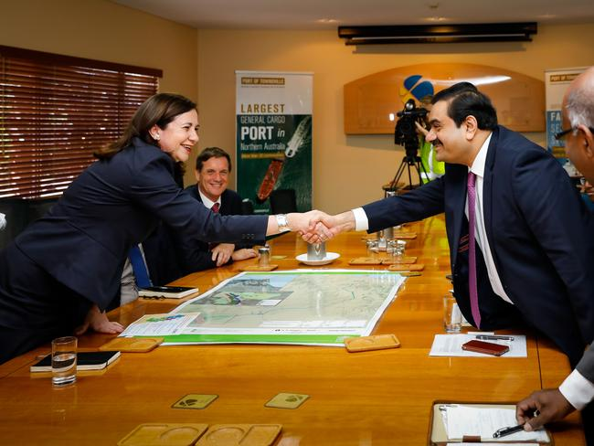 Adani Group chairman Gautam Adani meets with Queensland premier Annastacia Palaszczuk at the Port of Townsville in 2016. Picture: Cameron Laird/AAP