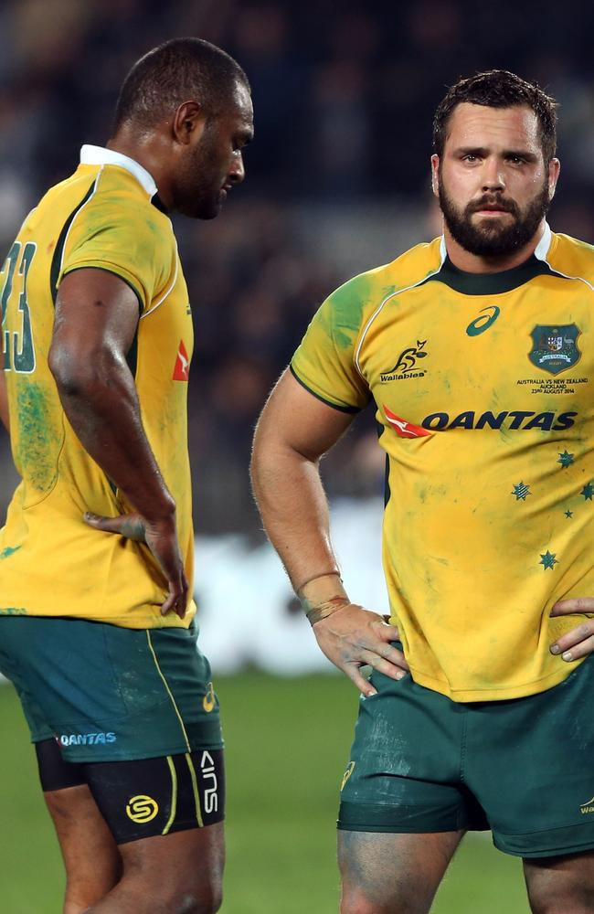 Tevita Kuridrani. pictured left with James Hanson, could start for the Wallabies in their next Test.