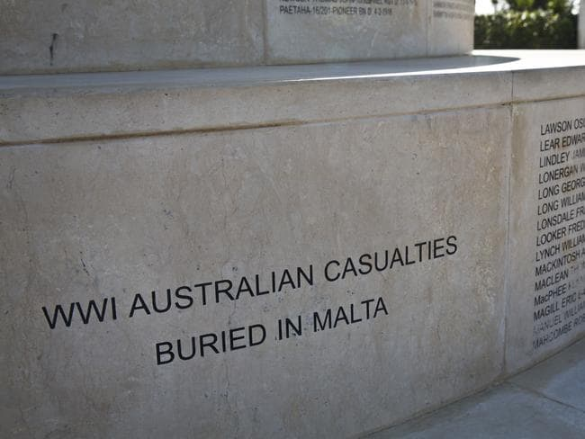 Final resting place ... the Anzac Memorial in the Argotti Gardens, Floriana, Malta. The names of the Australian and New Zealand men who lost their lives are listed on the three circular steps at the base. Picture: Ella Pellegrini