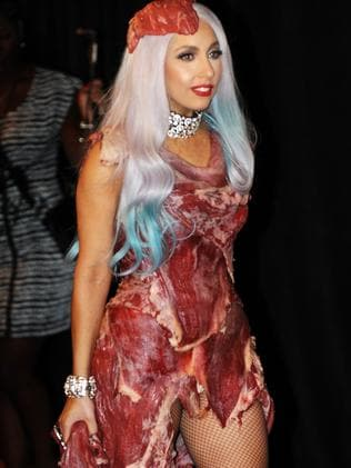 Lady Gaga wears her controversial meat dress after winning eight 2010 MTV Video Music Awards.