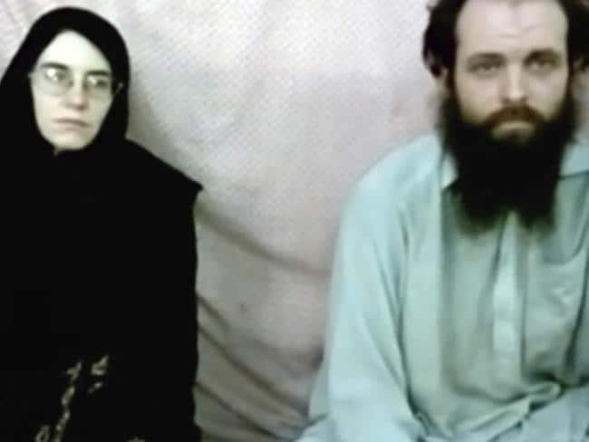 This still image made from a 2013 militant video shows Caitlan Coleman and her husband Joshua Boyle. Picture: Coleman family via AP