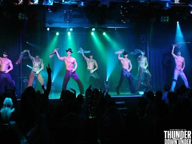 Performing on stage ... the guys in the Thunder From Down Under group. Picture: Twitter/@ThunderVegas