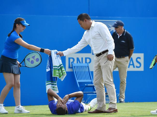 Nick Kyrgios slipped at the ATP Aegon Championships tennis tournament.