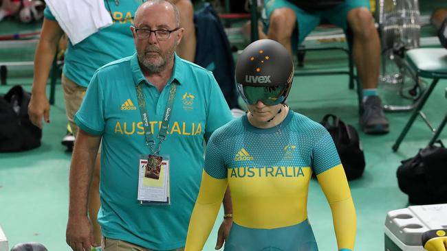 Gary West with Anna Meares before the keirin at the Rio Olympics. Picture: Adam Head.