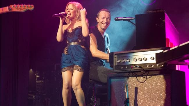 Pop pals ... Kylie with Coldplay at the Enmore, Sydney, in 2014. Picture: Daniel Boud