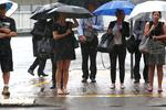 Comuters in Brisbane CBD brave rain to go to work.