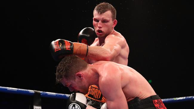 Jeff Horn takes on Gary Corcoran during the WBO Welterweight Championship at Brisbane Convention & Exhibition Centre in December. Picture: Chris Hyde