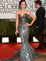 Golden Globes 2014 red carpet arrivals at the Beverly Hilton: Actress Kate Beckinsale in a shimmery Zuhair Murad Couture desing. Picture: AFP