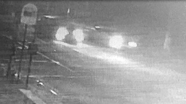 CCTV appears to show the car travelling at excessive speed before crashing into the pole. Picture: Supplied