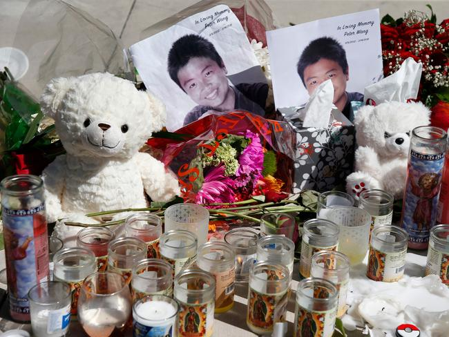 A memorial for Peter Wang, one of the victims of the Marjory Stoneman Douglas High School shooting. Picture: AFP