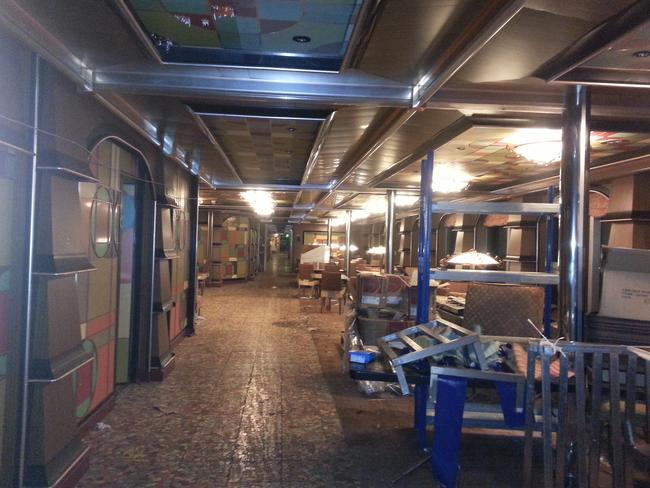 Largely untouched ... inside one of the lounge areas in the Costa Concordia cruise ship. Picture: Australpress