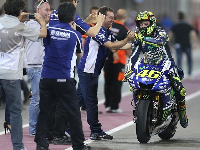 A delighted Rossi returns to pit lane after the Qater MotoGP.