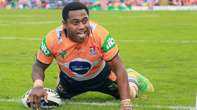 Akuila Uate broke the Knights try-scoring record in their loss to the Tigers.