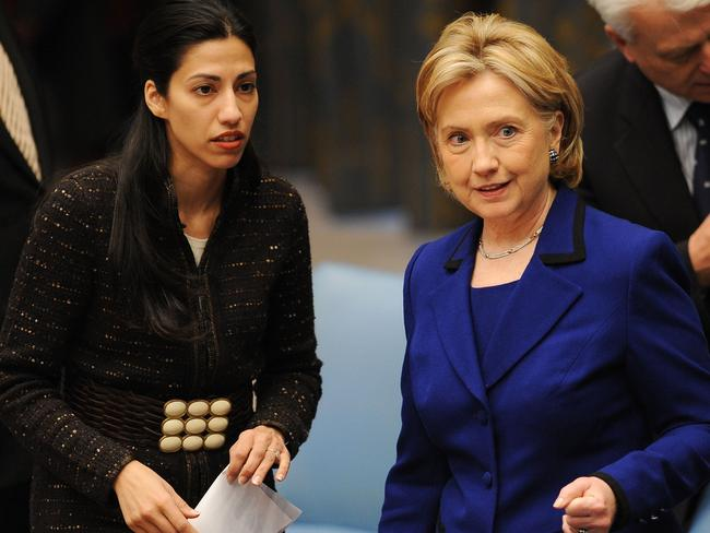 Huma Abedin (left) was one of Hillary Clinton's top advisers. Picture: AFP/Stan Honda