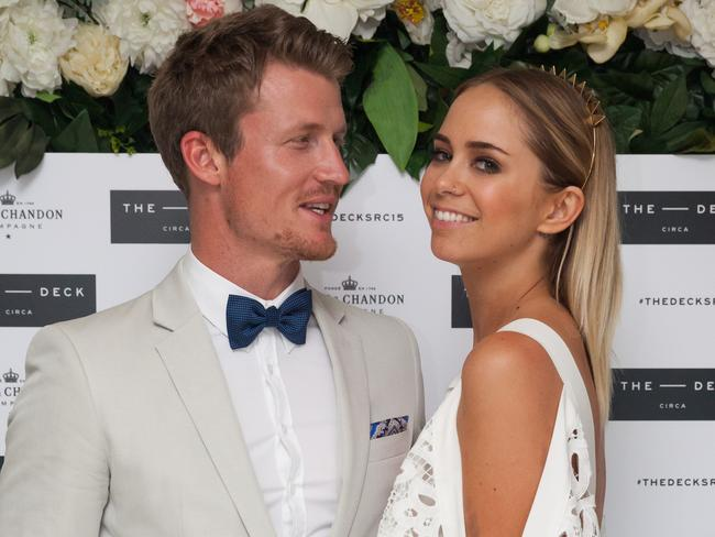 Richie Strahan and Tully Smyth pose together at Oaks Day. Picture: Rick Liston
