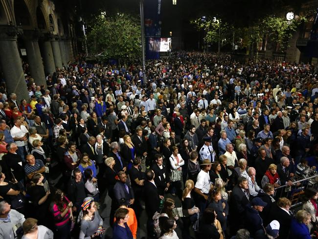 The Anzac Day dawn service at the Martin Place Cenotaph,was supported by thousands of people. Picture: Bradley Hunter