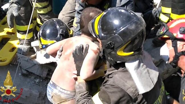 Matthias was the second brother to be rescued. Picture: Italian Firefighters Vigili del Fuoco via AP