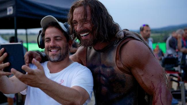 Super-size me ... director Brett Ratner on set with Johnson.