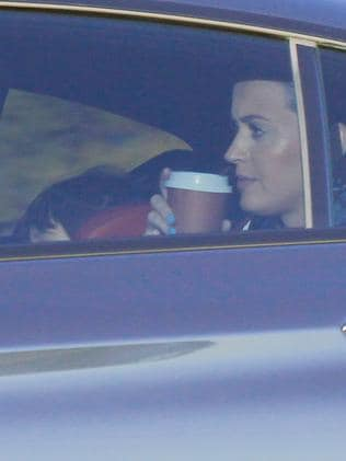 Katy keeps Flynn company in the back. Picture: BackGrid