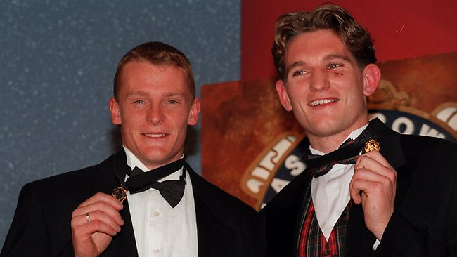 1996 Brownlow Medal. Joint winners Michael Voss and James Hird. Picture: Andrew Tauber
