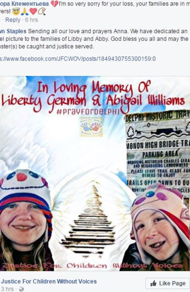 A wellwisher posted an 'angel' picture of 'Angel of the girls with an image of the old rail bridge stretching behind them up to the sky. Picture: Facebook